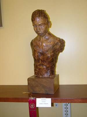 A wood sculpture on display at the 2015 Senior Citizen Artshow held at the Ventnor Library.