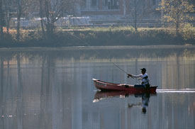 Boater fishing on Lake Lenape