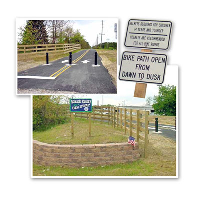 Pictures of signage and bike paths on the bikeway.