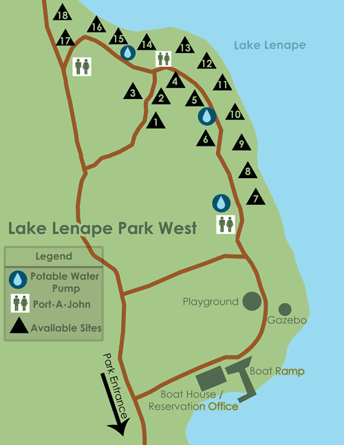 Lake Lenape Camping Map