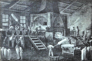Illustration of workers in the Glassworks Factory