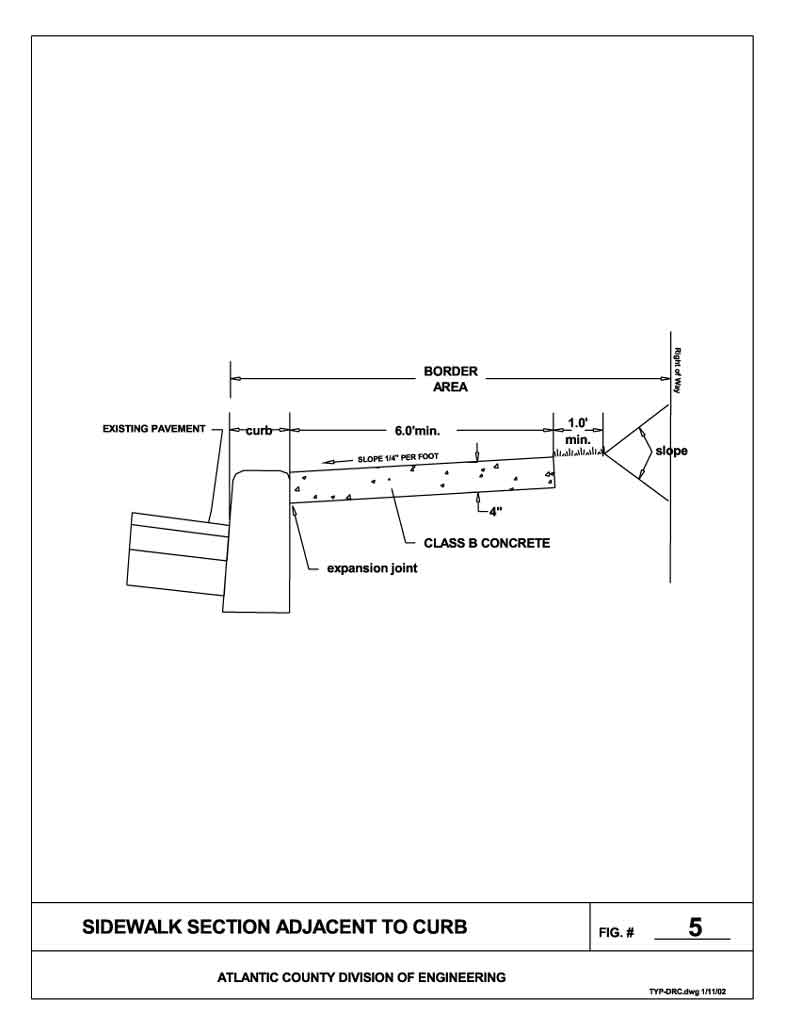 Sidewalk Section Adjacent To Curb Figure 5 Land