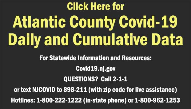Click Here for Atlantic County Daily COVID-19 Counts For Statewide Information and Resources: Covid19.nj.gov QUESTIONS?  Call 2-1-1 or text NJCOVID to 898-211 (with zip code for live assistance)Hotlines: 1-800-222-1222 (in-state phone) or 1-800-962-1253 [Link to https://www.atlantic-county.org/covid/daily-counts.asp]